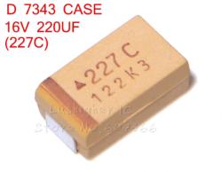 CAPACITOR TANTALO 227C  220UFX16V CASE D